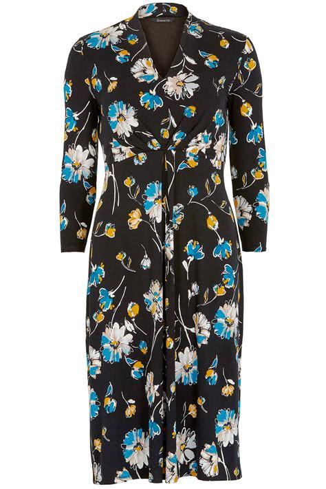 Print 3 4 Sleeve Dress floral print 3 4 sleeve tea dress