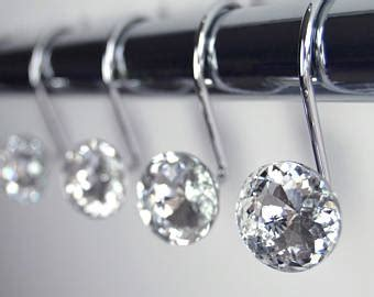 diamond shower curtain hooks shower curtain hooks etsy