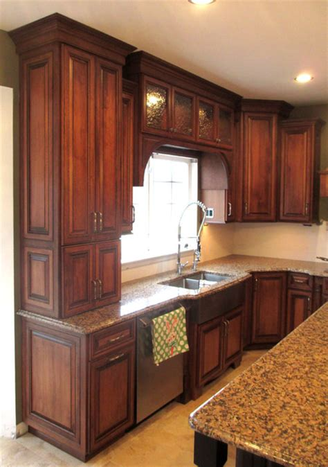 Stain Kitchen Cabinets Before And After by Maple Cabinets With Cherry Stain And Mocha Glaze