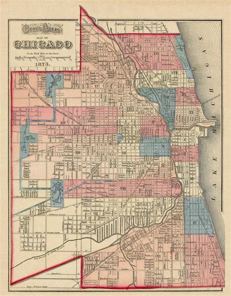 vintage chicago map chicago map vintage map of chicago 16 x 205 by