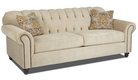traditional rolled arm sofa klaussner sinclair traditional stationary sofa with rolled