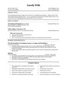 resume exle cna resume sle with no experience 2016