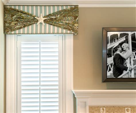 beach house window treatments beach house cornice window treatment beach style living room new york by nancy
