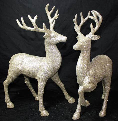 new set of 2 gold silver glitter christmas reindeer deer