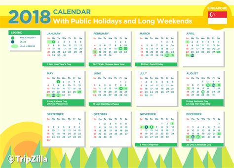 Calendar 2018 Template Philippines 9 Weekends In Singapore In 2018 Bonus Calendar