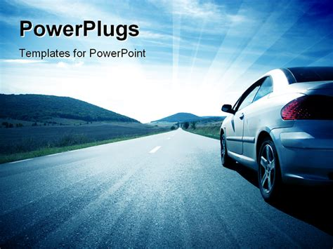 car powerpoint template powerpoint template a car on the road with clouds in the