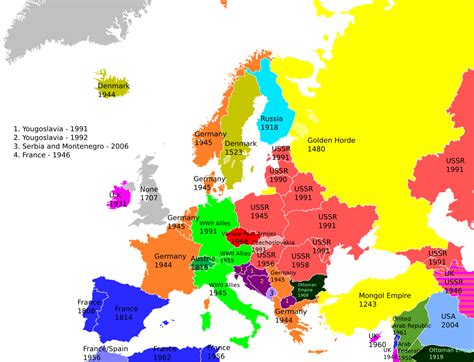 all countries in europe map an awesome map of the last time each european country was