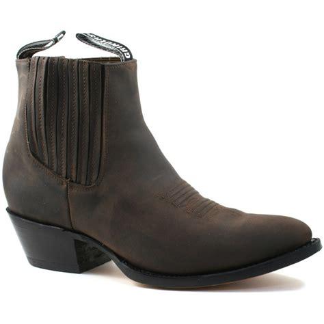 mens grinders maverick brown leather western ankle cowboy
