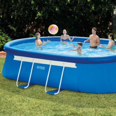 intex oval framed inflatable pool package ft  ft