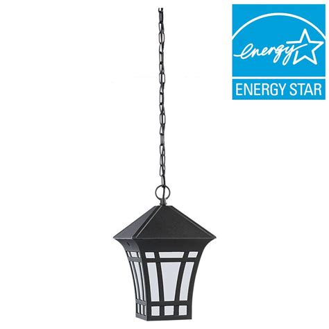 Outdoor Suspended Lighting Sea Gull Lighting Herrington 1 Light Outdoor Black Ceiling Mount Hanging Pendant Fixture