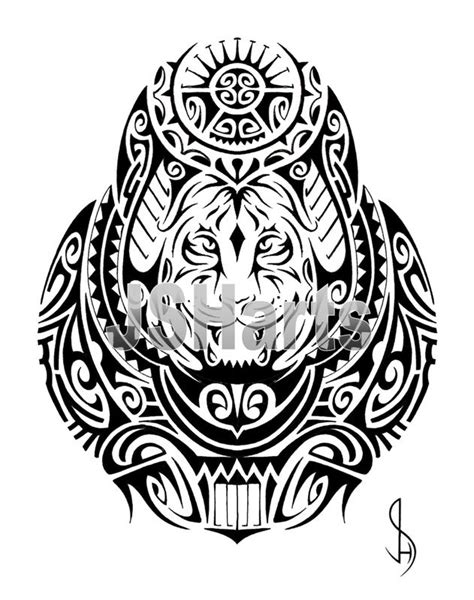 polynesian tribal tattoo design with a tiger face by