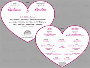 heart shaped wedding fan program wedding program by
