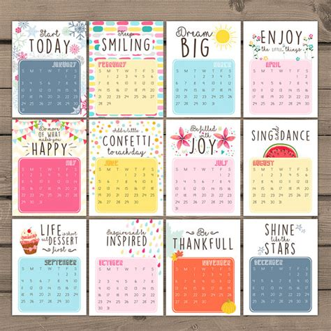 printable quote calendar 2016 items similar to printable calendar 2016 inspirational