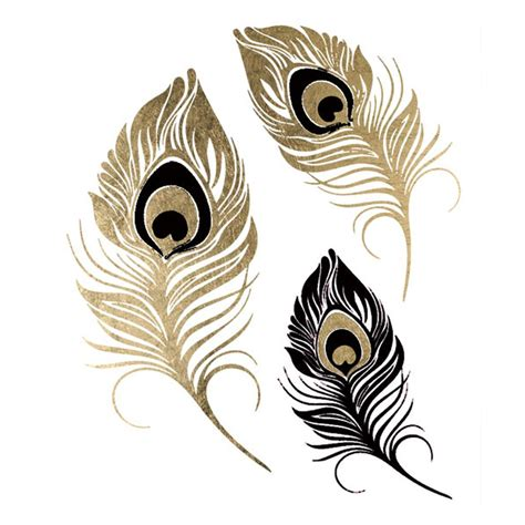 feather tattoo gold black gold metallic peacock feather temporary jewelry