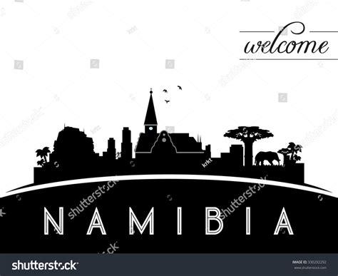 indonesia skyline silhouette black white design stock namibia skyline silhouette black white design stock vector