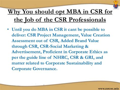 Mba In Corporate Social Responsibility by Why Mba In Corporate Social Responsibility