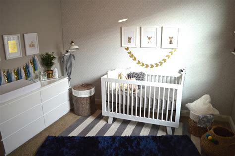 Vbm091 Blue Gold White Grey modern blue grey and gold nursery project nursery