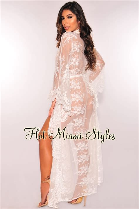White Sheer Floral Embroidered Lace Kimono Cover Up Kaftan