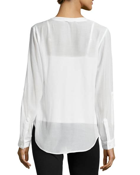 Gap White Pleated Blouse lyst neiman pleated chiffon blouse in white