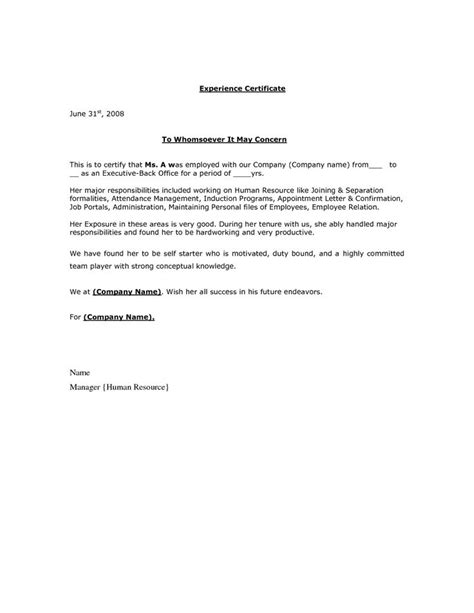 certification letter by employer experience certificate letter format http