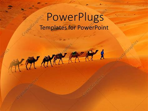 Powerpoint Template Camels And Desert Merchants Travelling Through Desert Sand Dunes 6360 Desert Powerpoint Background