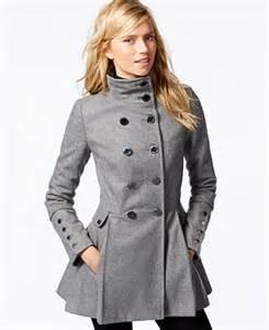 calvin klein stand collar pleated peacoat coats women