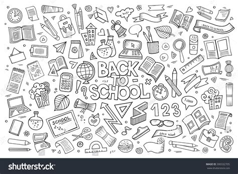 doodle academy drawings school education doodles vector stock vector