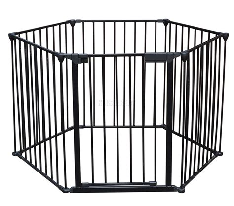 6 panel baby pen 6 panel baby hearth gate room divider safety guard metal play pen black new ebay