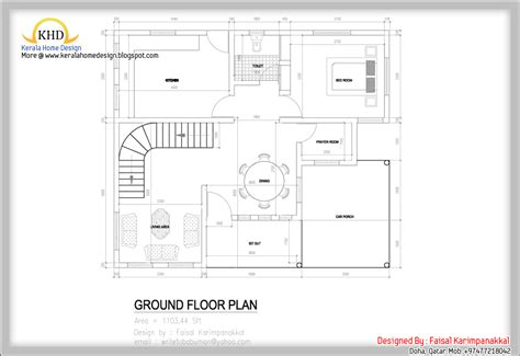 ground floor plan home plan and elevation 1983 sq ft kerala home design