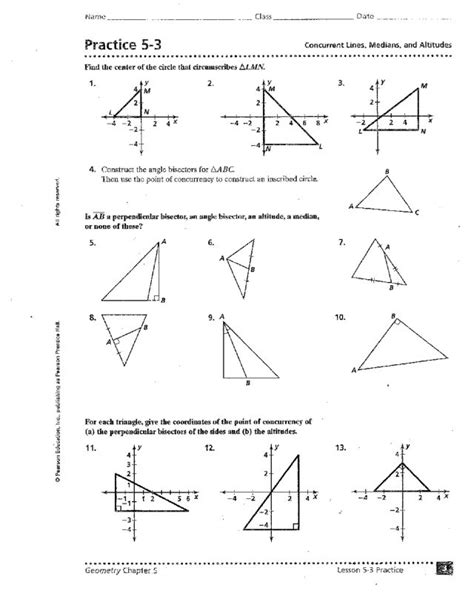 Geometry Points Of Concurrency Worksheet by Constructing Triangles Worksheet Abitlikethis