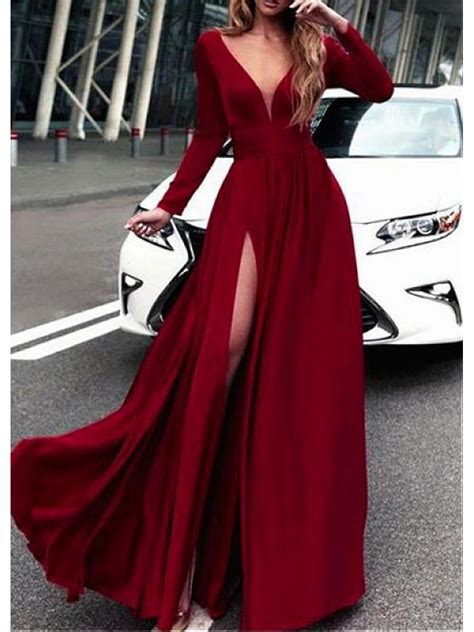 V Neck Sleeve A Line Dress a line sleeves v neck prom dresses formal