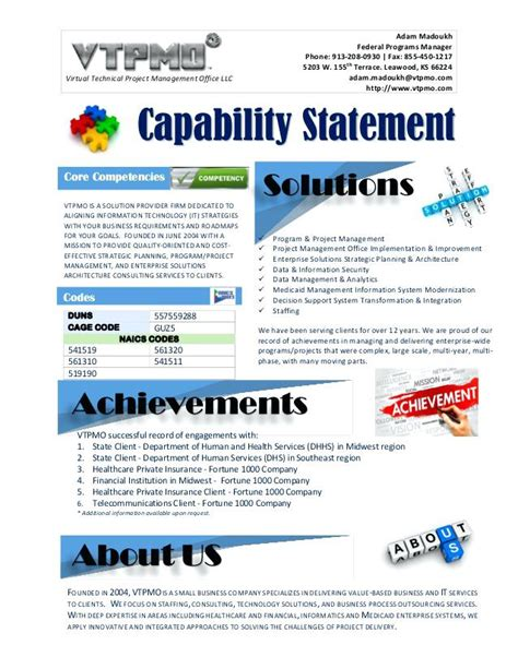 Capability Statement Template Capability Statement Sle Capability Statement Template Download Capability Statement Template For Government Contractors
