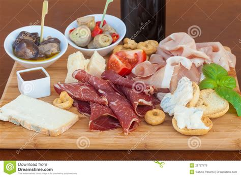 cooking board italian food on chopping board royalty free stock image