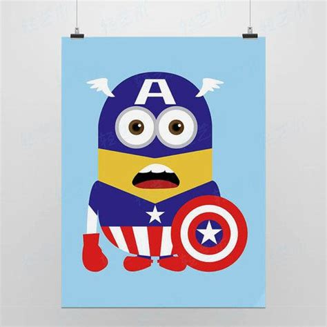 Kaos Anime Capt America Glow In The light anime minions captain by qingyishu home decor despicable me