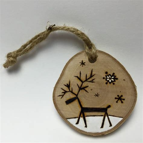 Handmade Wood Ornaments - reindeer ornament handmade wood door