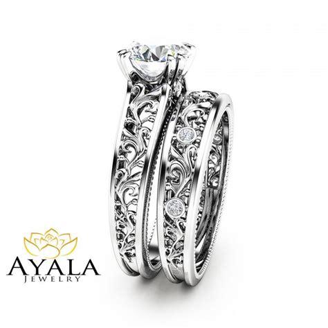 unique bridal set 14k white gold engagement rings