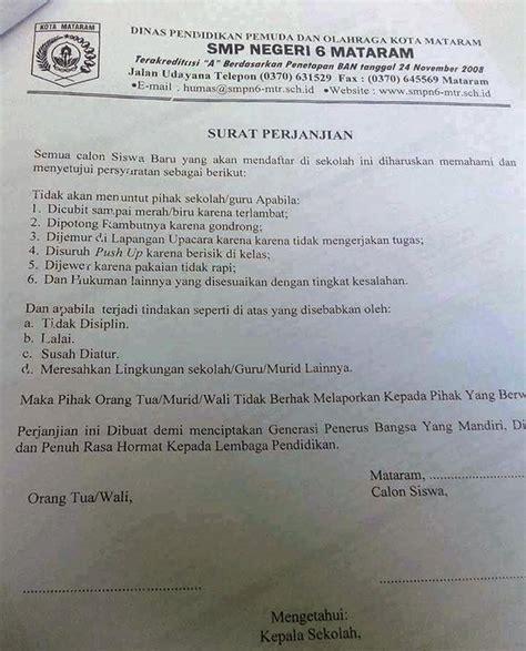 heboh surat perjanjian murid dilarang menuntut jika dicubit guru ini