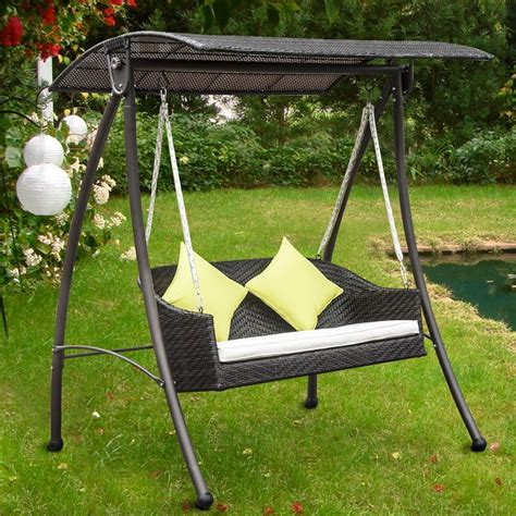 outdoor garden swing seat rattan outdoor 2 seat swing ideal home show shop
