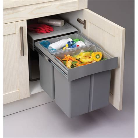 Pull Out Soft Close Recycle Bin for 450mm cabinet   Hinged