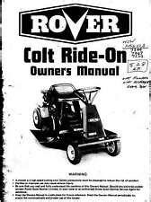 Rover Colt Ride Mower Owners Manual Very Rare Item Ebay
