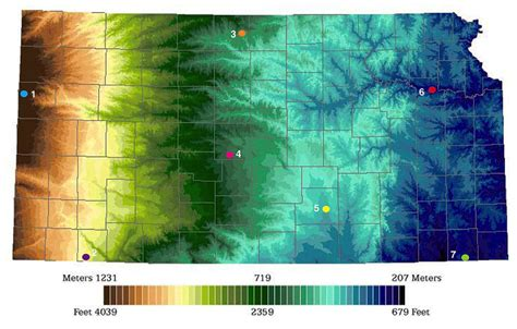 kansas colors color elevation map of kansas geokansas