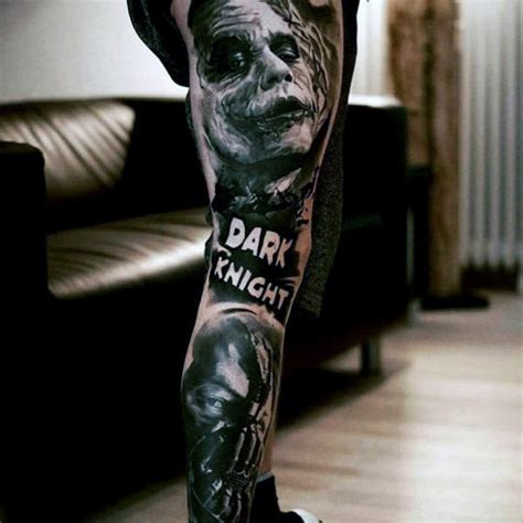 dark knight tattoos 90 joker tattoos for iconic villain design ideas