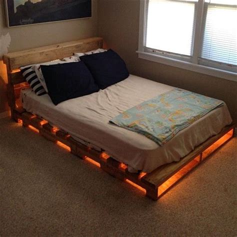 diy pallet bed frame diy pallet bed ideas and plans pallets craft and lights