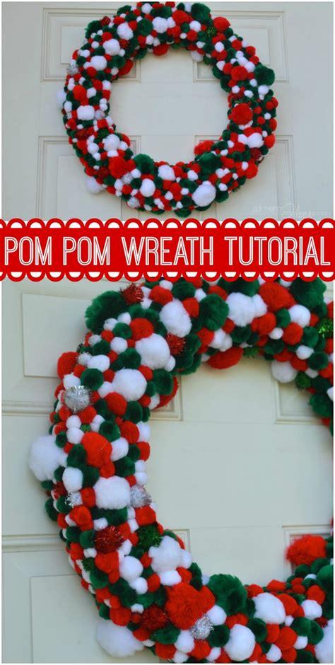 christmas pom pom wreath  thrifty ideas