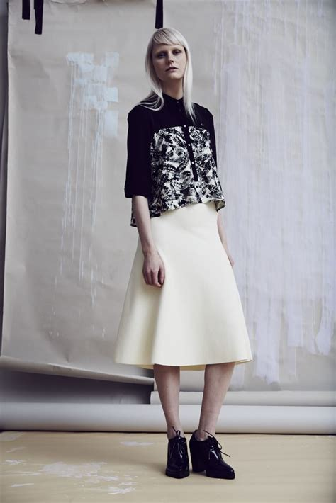 An A Line Skirt Look by Whistles Look 12 Anais Print Shirt Knitted A Line