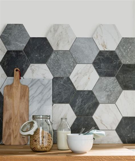 eye catchy hexagon tile ideas  kitchens digsdigs