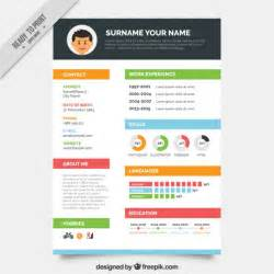 colors resume template vector free
