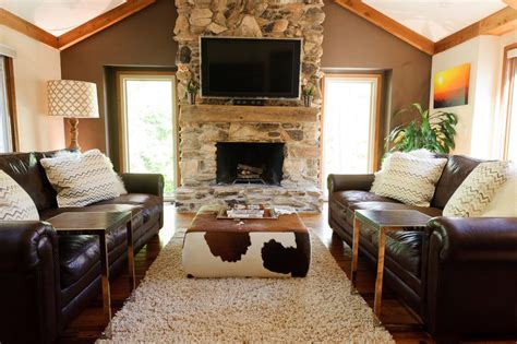 Decorative Ottomans Living Room by Cowhide Ottoman Cube Living Room Eclectic With Fireplace