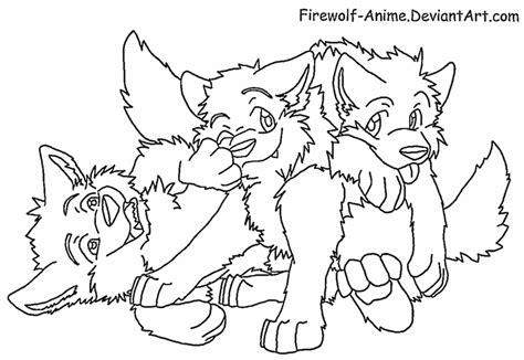 coloring pages of wolf pups three wolf pups lineart by firewolf anime on deviantart