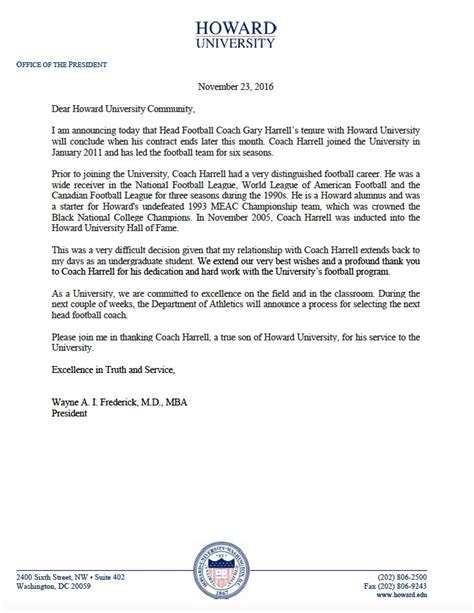 Acceptance Letter Copy howard bison football coach gary harrell to depart